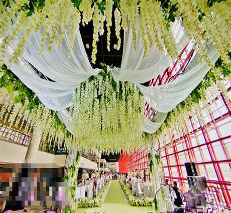 Wedding Decoration Wisteria Silk Ceiling Decor White Purple