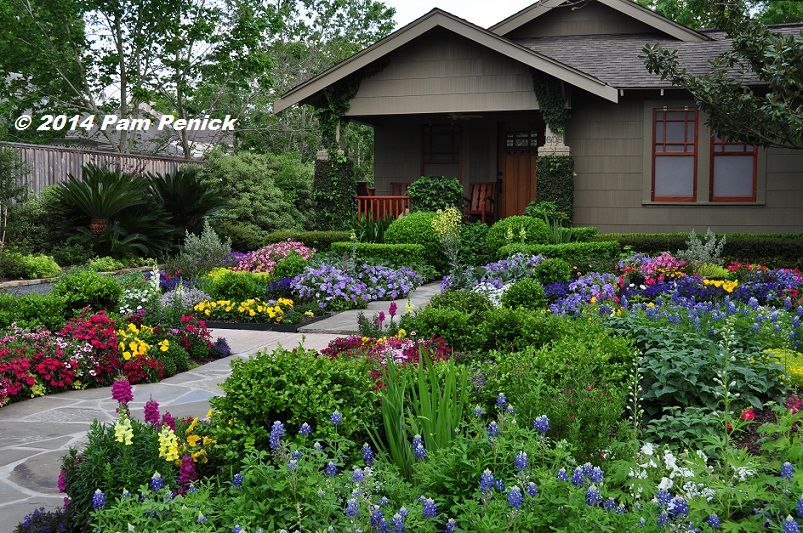 Drive by gardens no lawn flower garden at houston heights for Front yard flower garden ideas