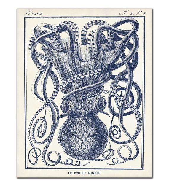 Octopus Print Set Of 4 In Marine Blue Octopus Art Beach Etsy In 2020 Octopus Art Print Octopus Art Art Print Set