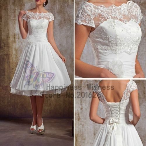 New Vintage White//Ivory Lace Tea Length Short Wedding Dress Bridal Gown Size6-18