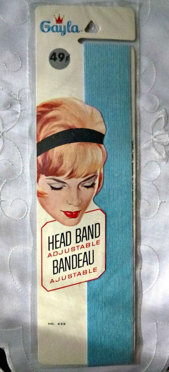 Vintage Hair Band Baby Blue Mad Men 50s 60s Head Band Rockabilly Hair 1960s Mod Pastel Blue Adjustable Mid Century Beauty & Vanity Ephemera