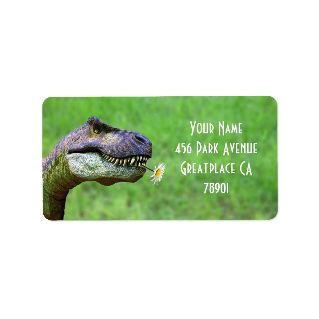 Tyrannosaurus Rex with Flower Address Label 5 sheets. #tyrannosaurusrex