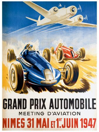 Grand Prix Automobile Nimes Giclee Print By Geo Ham At Allposters Com Vintage Racing Poster Racing Posters Auto Racing Posters