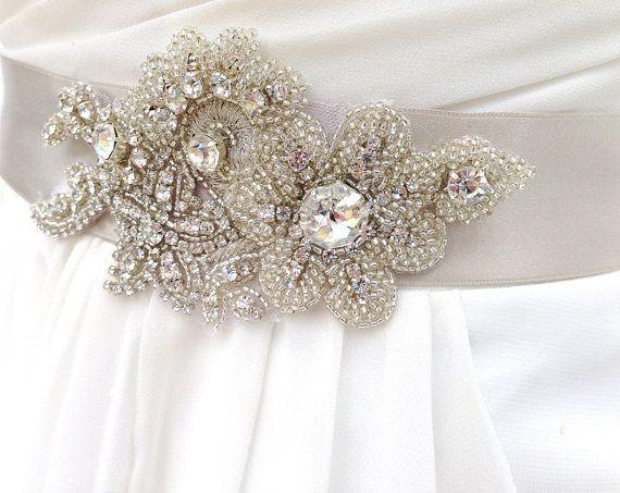 Wedding gown dress sash crystal brooch belt