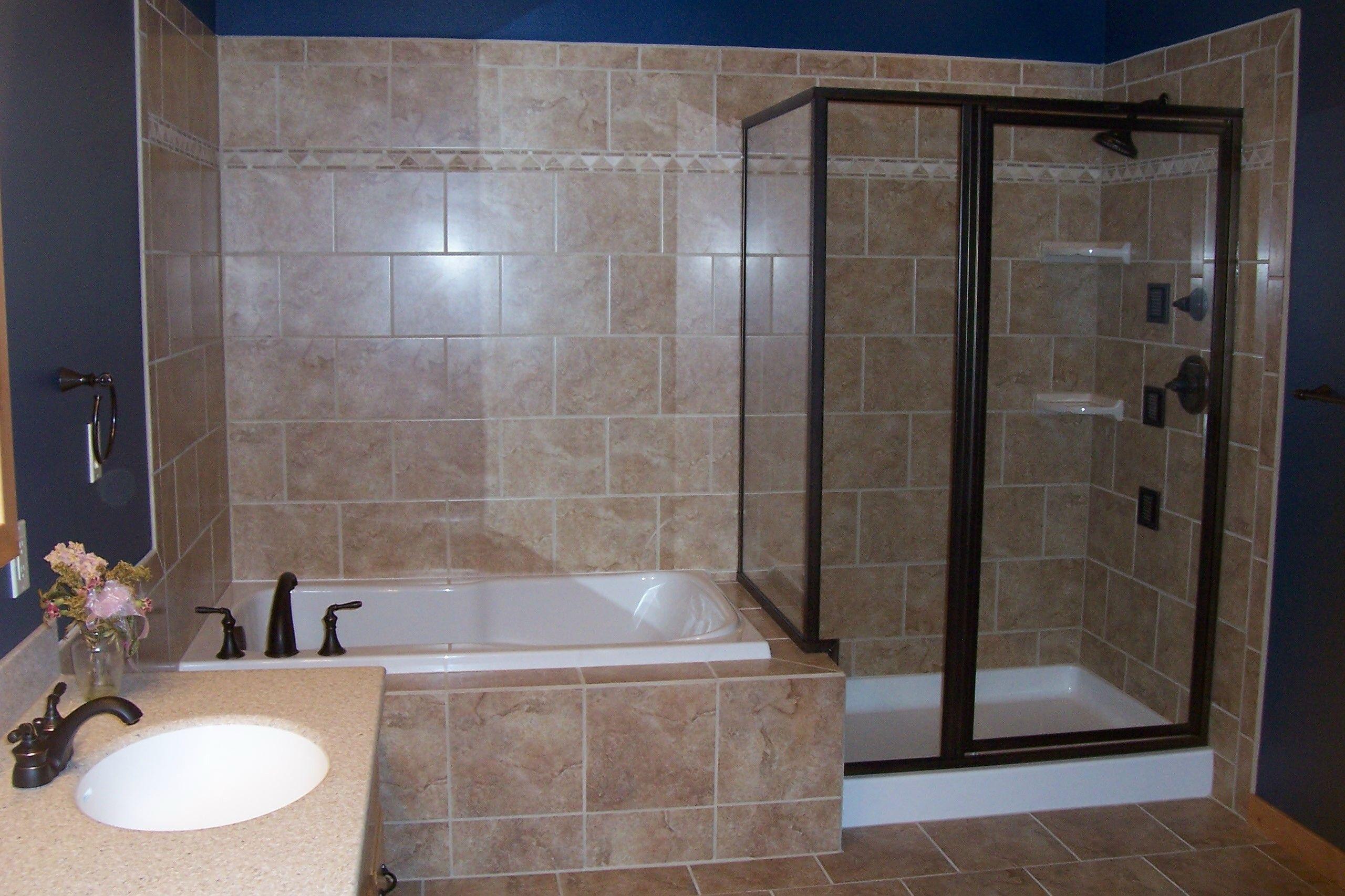 Cottages To Castles Inc Corner Bathtub Shower Blue Modern Bathrooms Bathtub Shower Combo