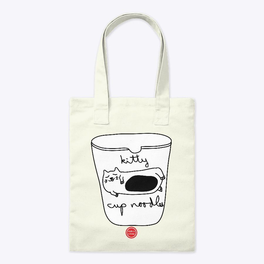 it is kitty's cup noodles food which just added hot water. i think it is good idea for traveling.  es ist Kitty's Cup Nudeln Essen, das nur heißes Wasser hinzugefügt hat. Ich denke, es ist eine gute Idee für Reisen.  Size: 38cm x 45.7cm Material: 100% cotton Price: 17 Euro  #cupnoodle #kitty #food #traveling #totebag #hollyisathome #teespring