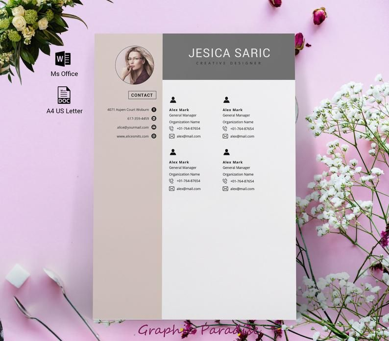 Professional resume template instant download 3 page