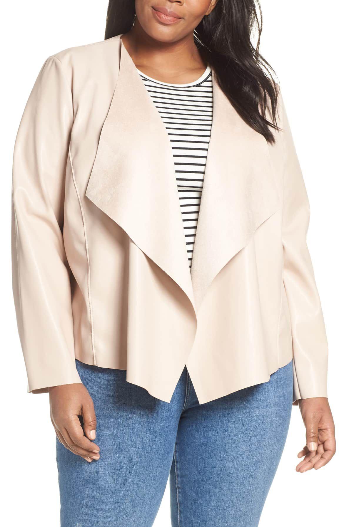 HALOGEN® Drape Faux Leather Jacket, Main, color, SAND
