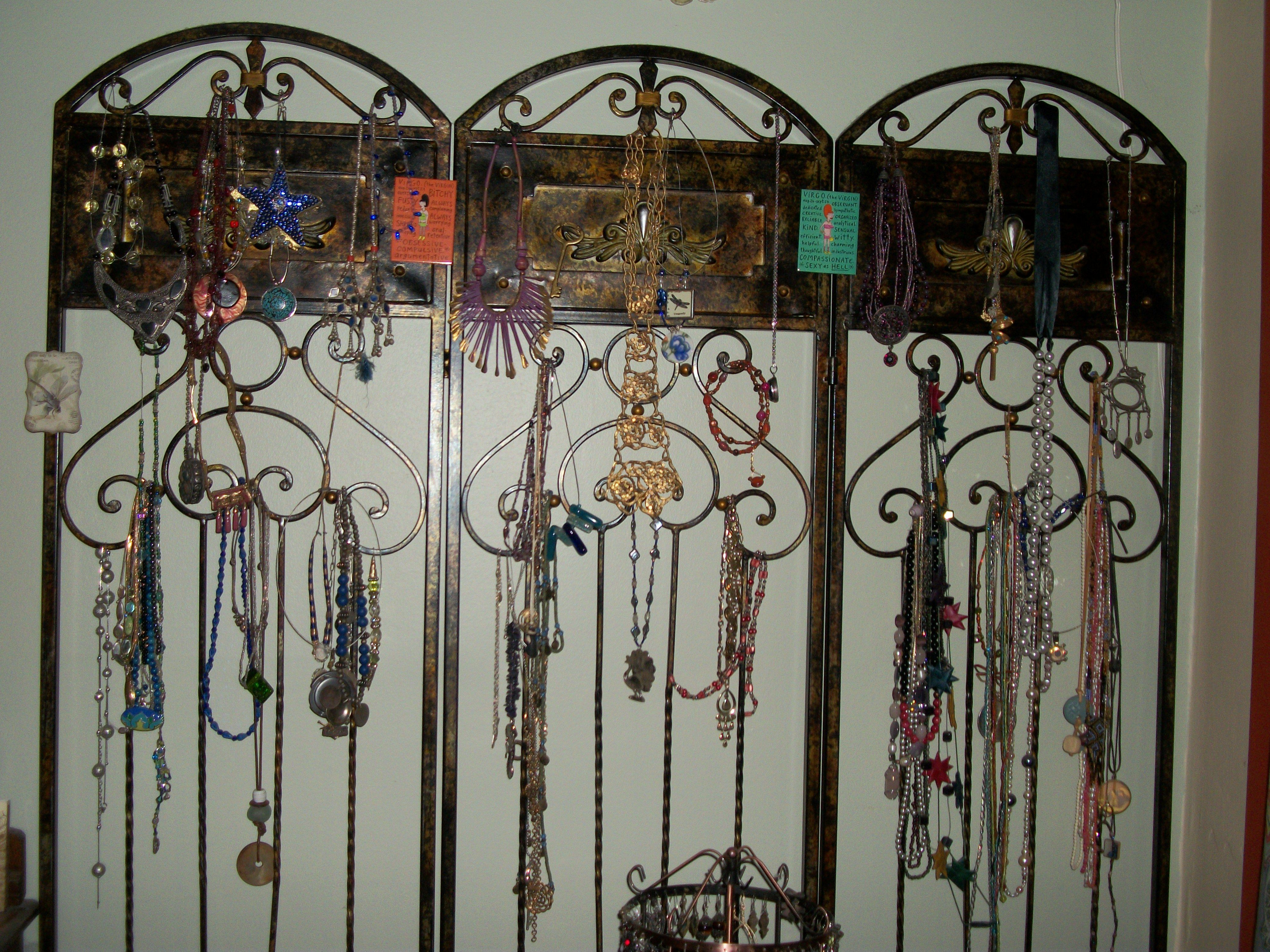 Trifold room divider turned jewelry organizer Repurposing