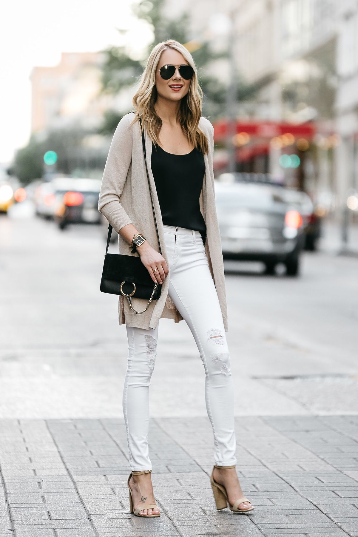 Fashion Jackson Dallas Blogger Street Style Long Beige Cardigan