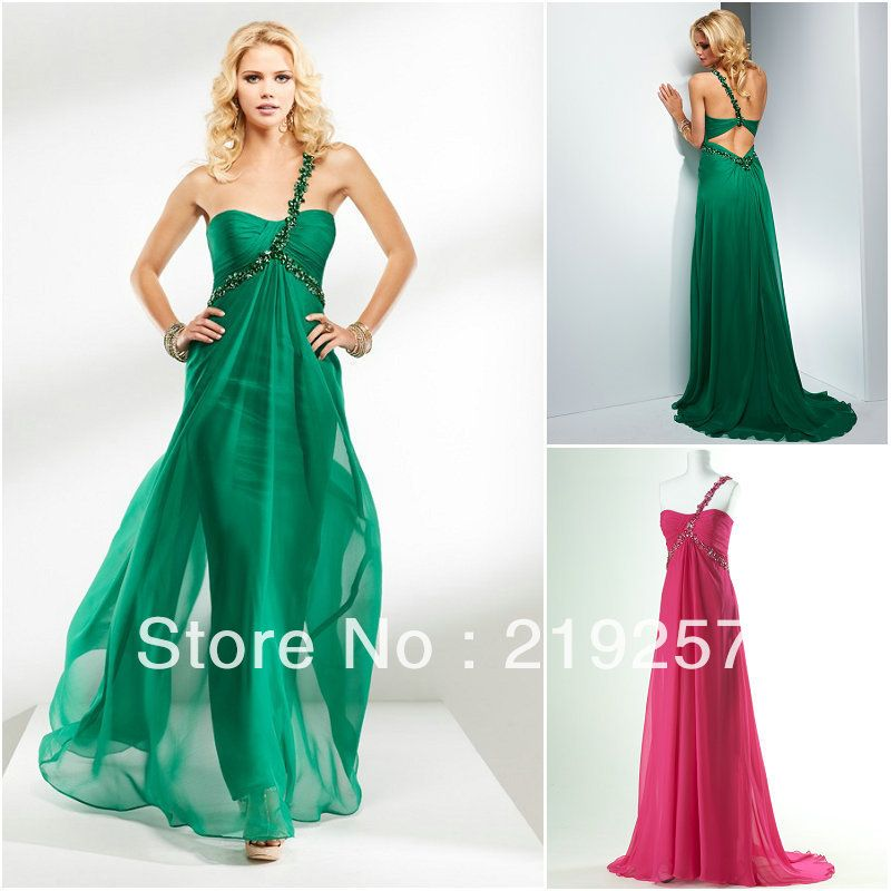 Free Shipping P007 New Sheer Silky Chiffon One Strap Emerald Green ...