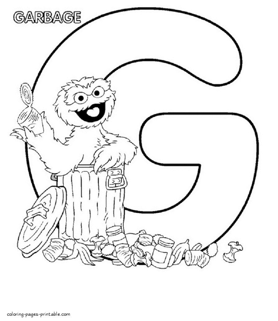 Letter G Coloring Pages Awesome Oscar The Grouch And The Letter G