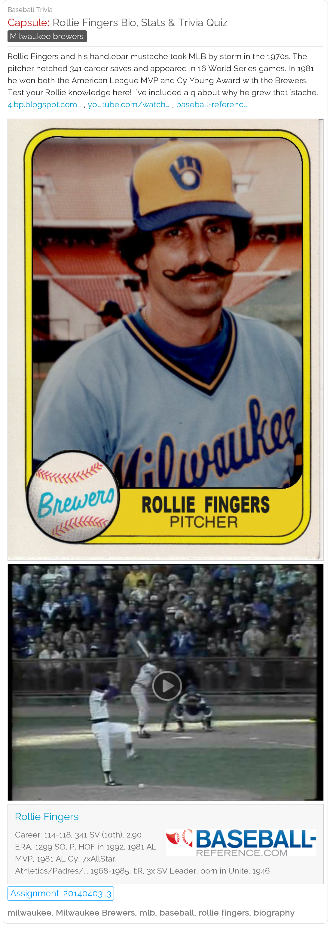 Rollie Fingers Biography Stats And Trivia Quiz Baseball