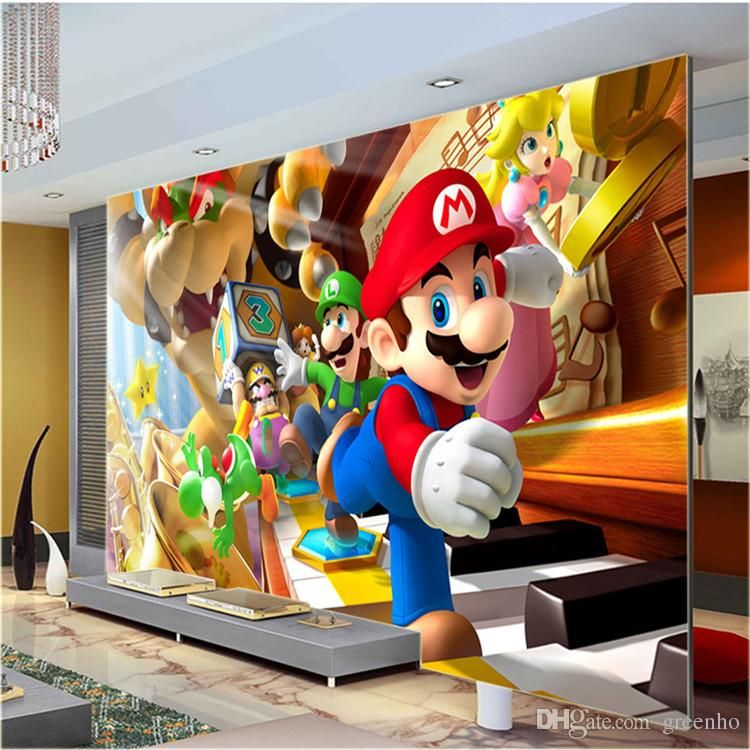 Custom Large Photo Wallpaper Super Mario Wall Mural Clic Room Decor Art Bedroom