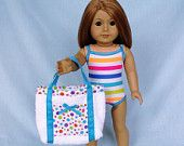 Rainbow Stripe Bathing Suit and Beach Bag for American Girl/18 Inch Doll