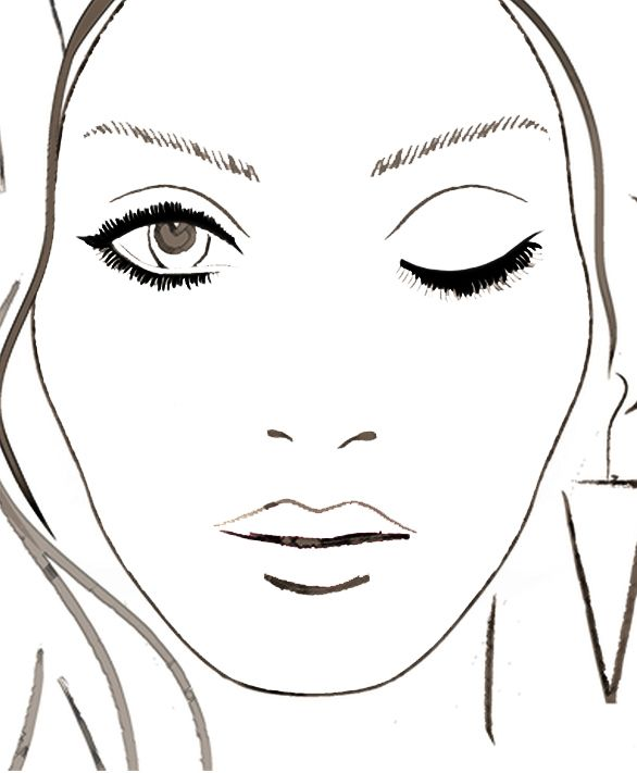 Blank Face Chart 1 Eye Closed With Images Makeup Face Charts