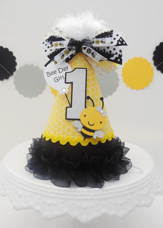 Bee Day Lil' Bumblebee Party Hat - Yellow Honeycomb, Black and Silver Glitter - Personalized