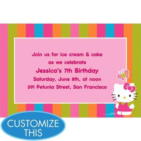 Hello Kitty Custom Invitation Girls Birthday Invitations