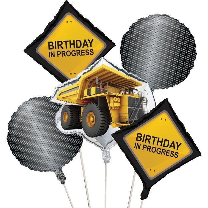 Construction Birthday Zone Party Balloon Bouquet 5 Per Package Construction Birthday Construction Zone Party Boys Birthday Party Decorations