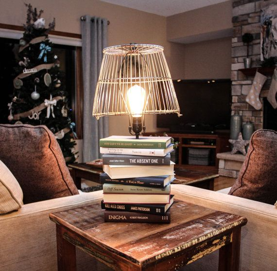 Book Table Lamp Industrial Chic /Upcycled By BCIndustrialTreasure