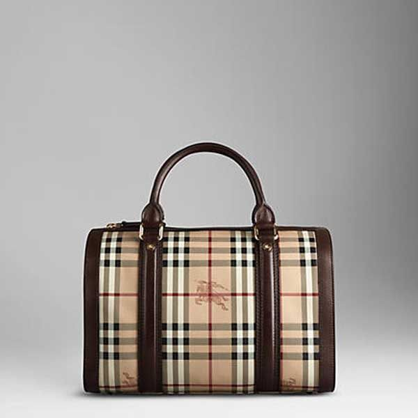 Medium Haymarket Check Bowling Bag with Chocolate Leather Trim