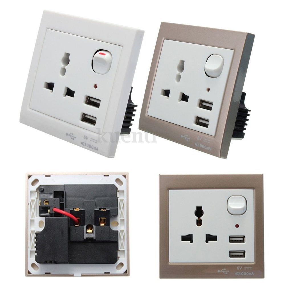 Electric Wall Plug Socket Charger Adapter Panel With Double 2 USB ...