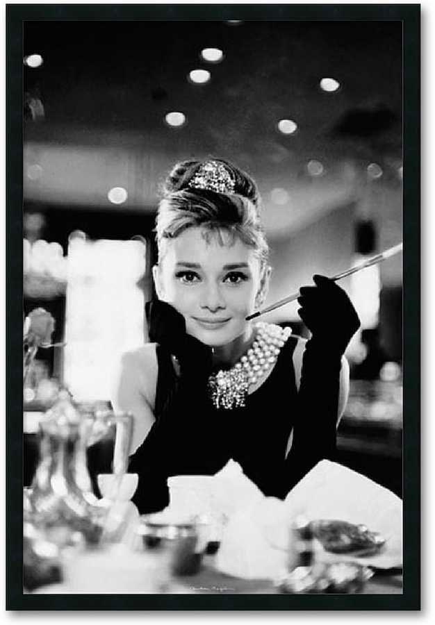 Audrey Hepburn, Breakfast at Tiffany\'s Framed Wall Art, Black ...