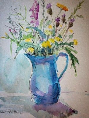 water colour wild flowers