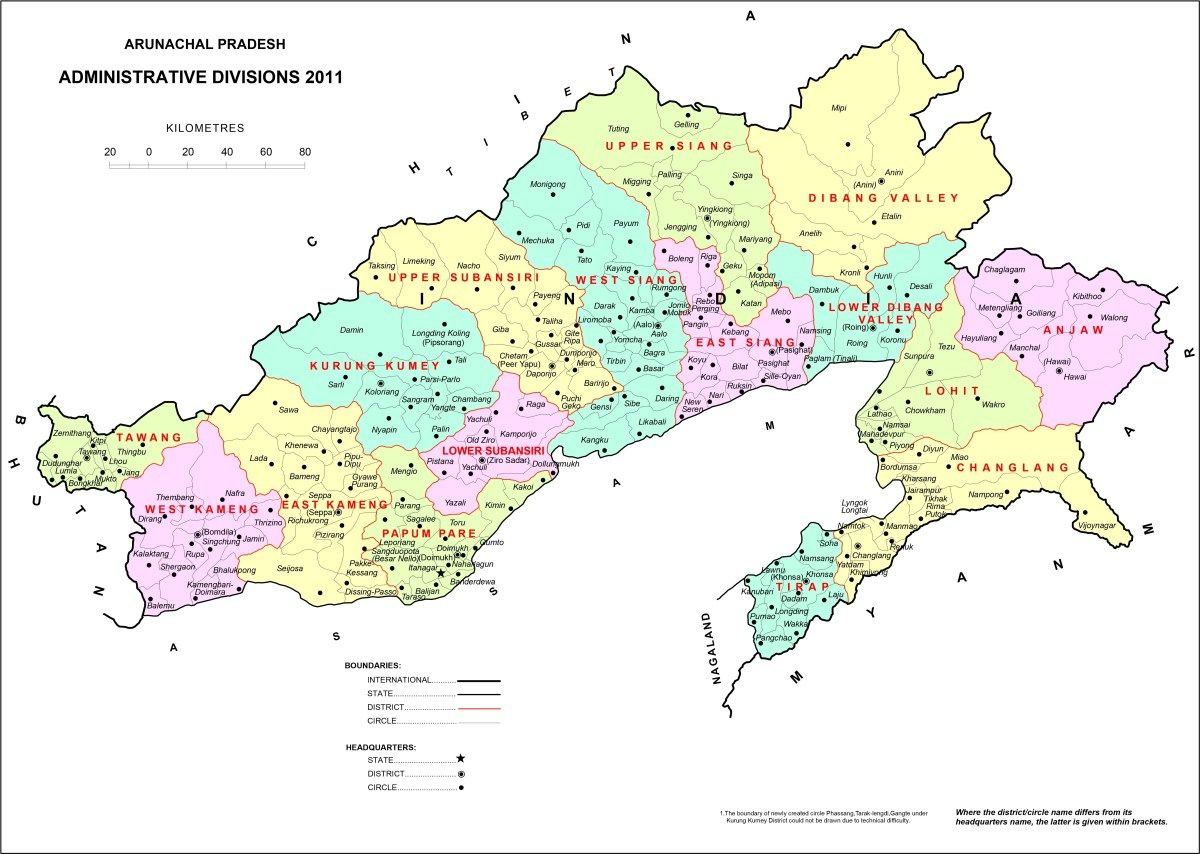 High Resolution Map of Arunachal Pradesh Map, Geography