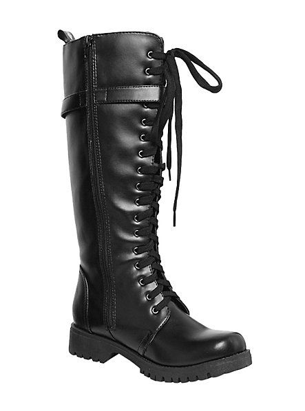 Volatile Black Strap Combat Boots