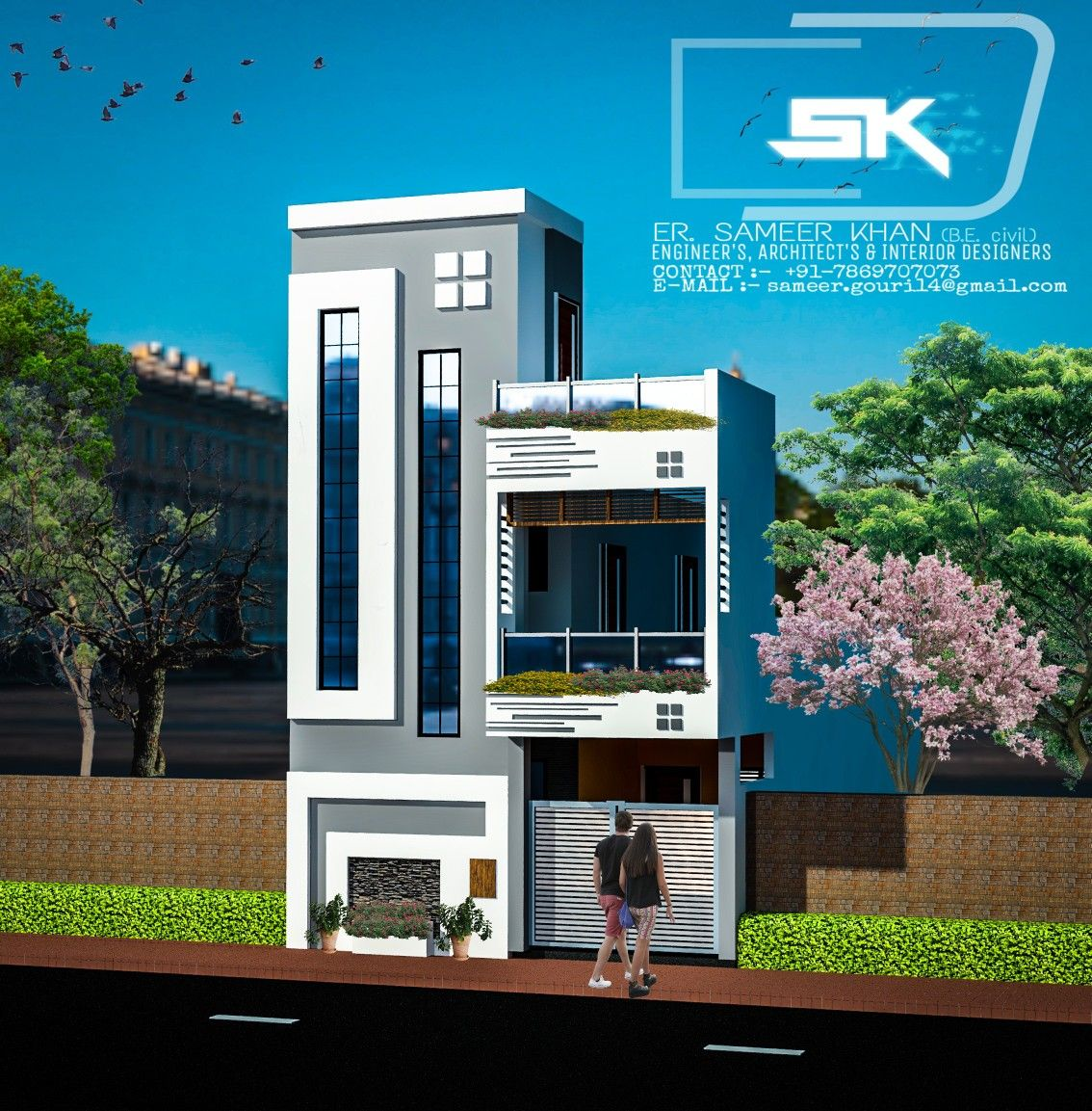Home Design Ideas Elevation: Introducing Modern House Elevation Design In 20' Front G+1