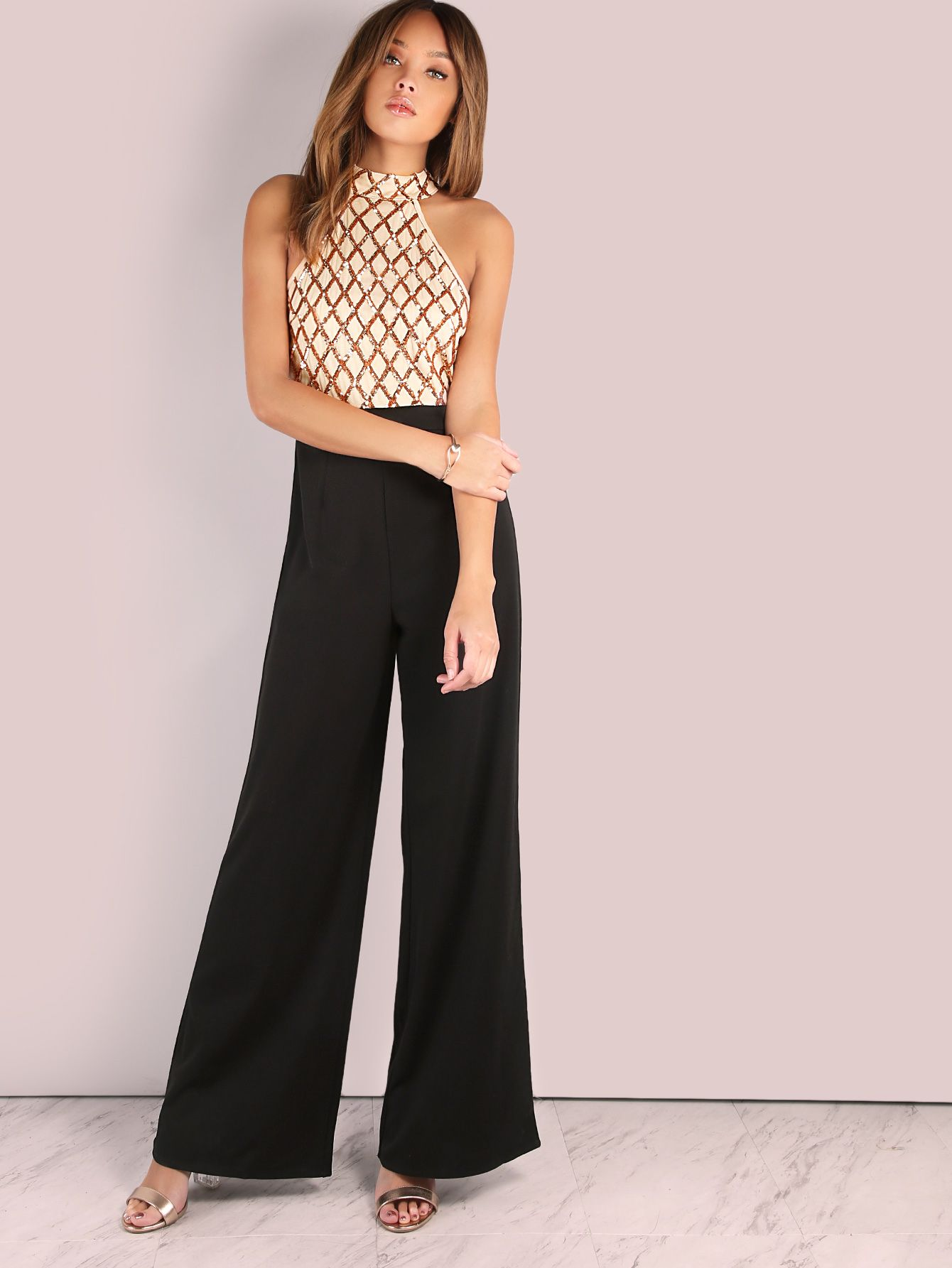 a5b8ee55539 Sequin Diamond Tailored Wide Leg Jumpsuit ROSE BLACK -SheIn(Sheinside)