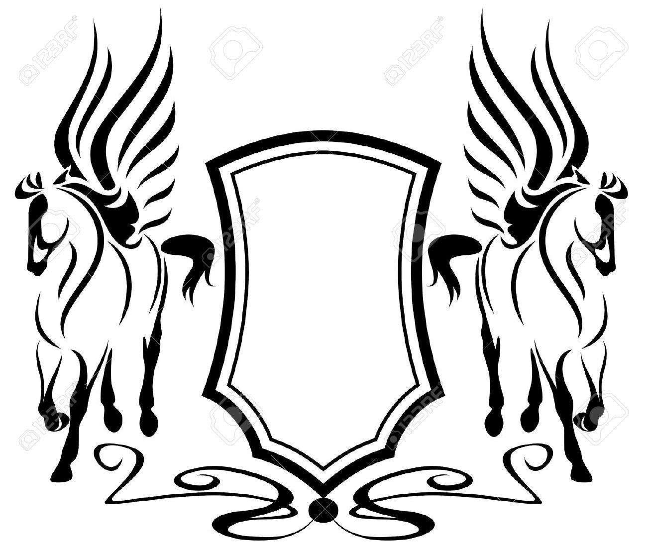 Beautiful pegasus with heraldic shield symbols of inspiration beautiful pegasus with heraldic shield symbols of inspiration buycottarizona Image collections