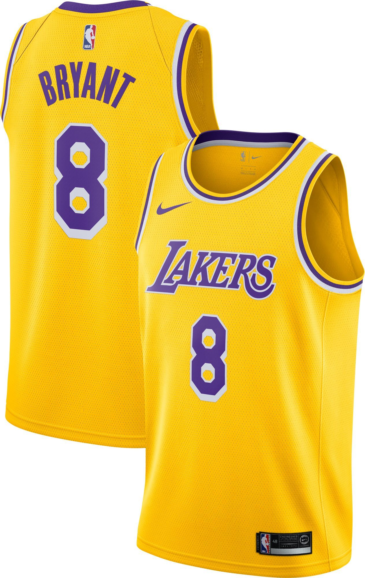 67a70f492d8 Nike Men s Los Angeles Lakers Kobe Bryant  8 Dri-FIT Gold Swingman Jersey