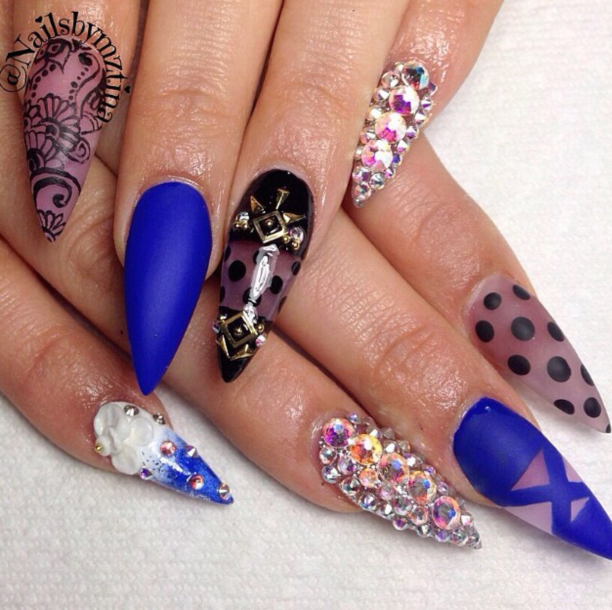 Blue, black, white and clear stilettos with gemstones | Nail designs ...