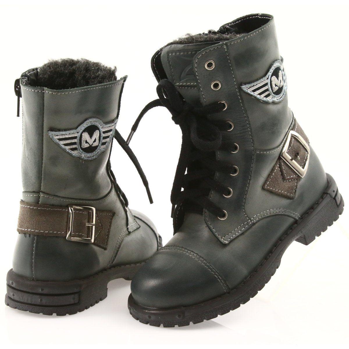 Kozaczki Buty Dzieciece Zarro 933 Szare Wielokolorowe Boots Shoes Winter Boot