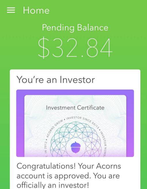Download the Acorns app and start your investing your