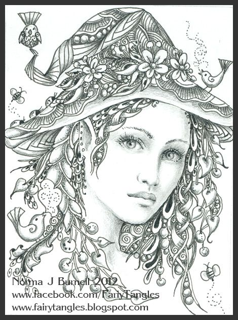 Fairy Tangles by Norma J Burnell Myth Mythical Mystical Legend Elf Fairy Fae Wings Fantasy Elves Faries Sprite Nymph Pixie Faeries Enchantment Forest Whimsical Mischievous Coloring pages colouring adult detailed advanced printable Kleuren voor volwassenen coloriage pour adulte anti-stress kleurplaat voor volwassenen Line Art Black and White