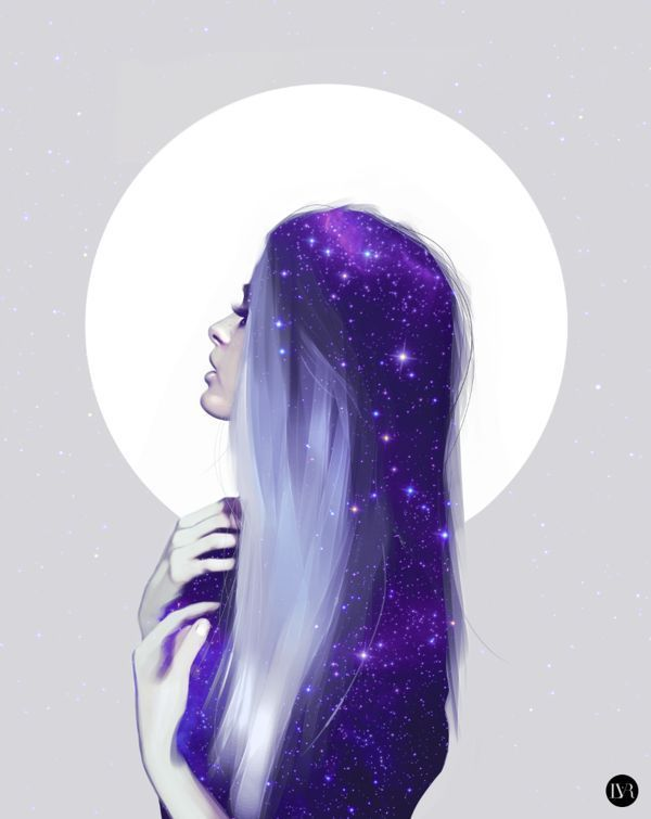 Girl And The Moon Girl Art Moon Purple Drawing Galaxy Illustration