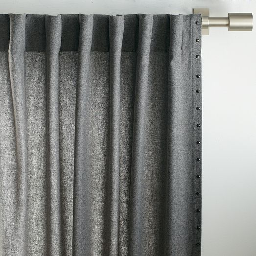 Studded Wool Curtain Heather Gray West Elm Great For An