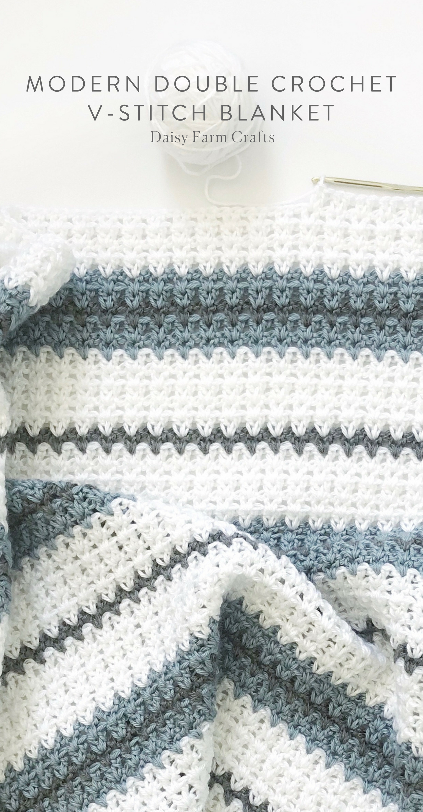Free Pattern - Modern Double Crochet V-Stitch Blanket #crochet ...