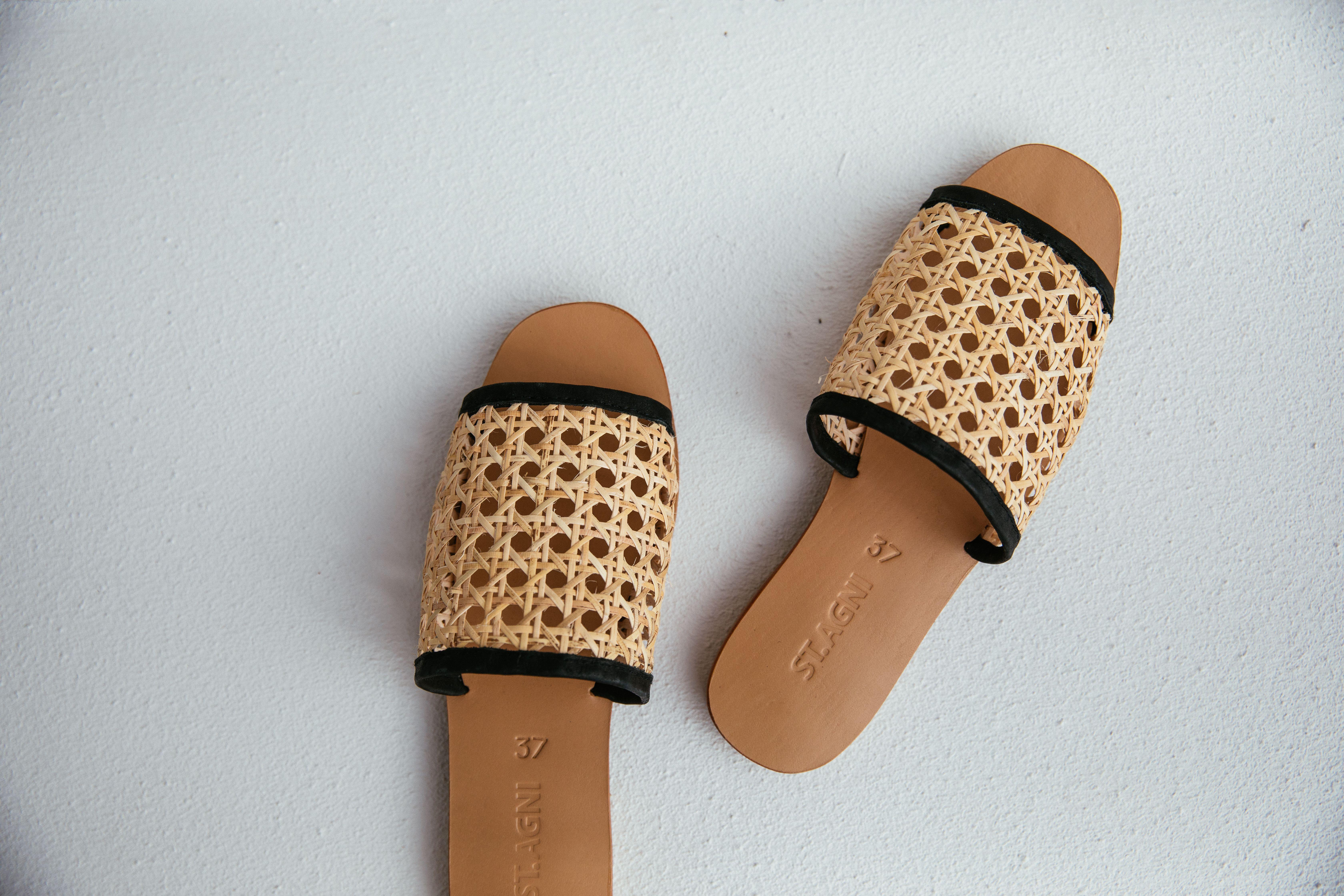 49e3b9f2f23a Hennie Rattan Slides Socks And Sandals