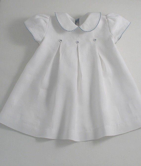 White Linen Yacht Dress Baby Dress Baby Girl Dresses
