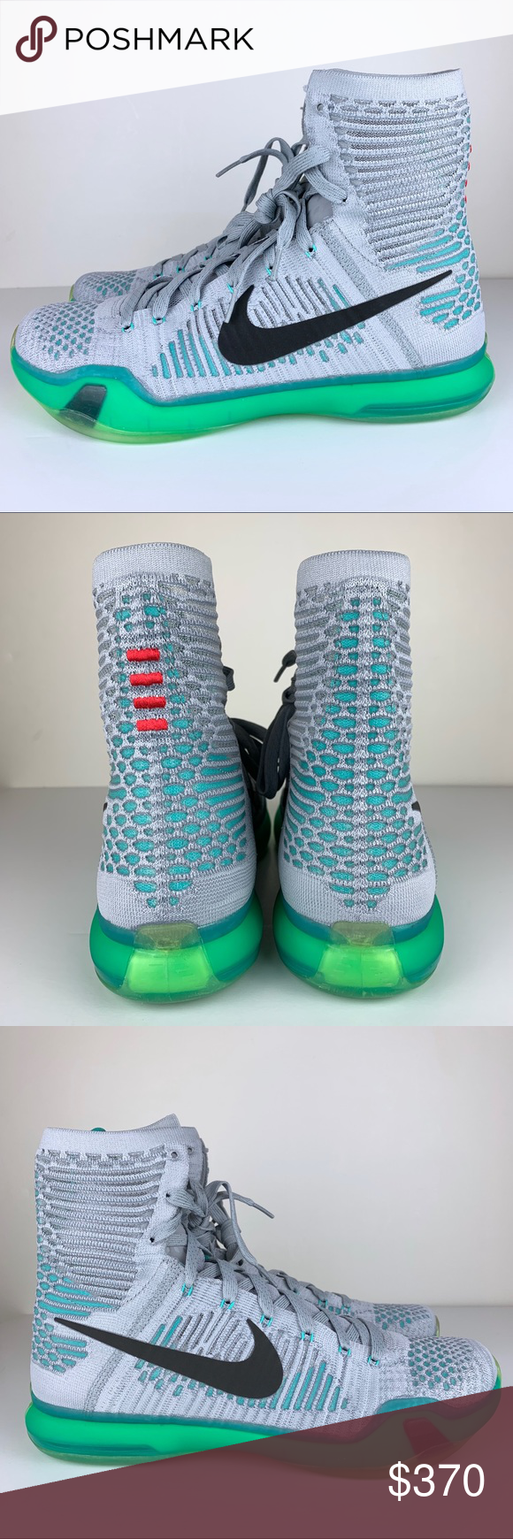 wholesale dealer 45e9d 1a9e5 Nike Kobe X 10 Elite Elevate Grey green Flyknit NIKE KOBE X 10 ELITE