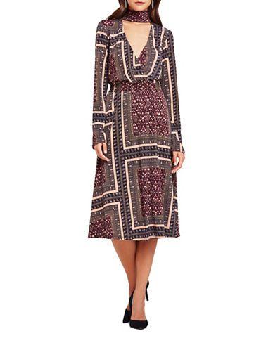 Bcbgeneration Border Print Midi Dress Women s Deep Blue Multi Small ... c1264e8f5