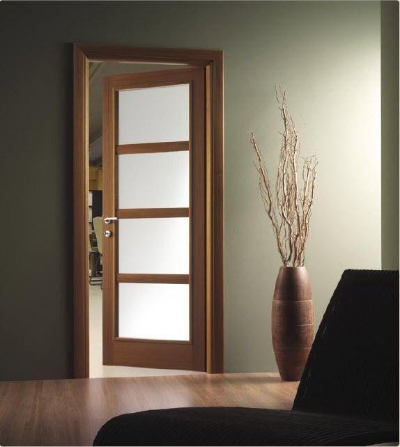 Puertas de madera con cristal puertas pinterest for Puertas de cristal para interiores