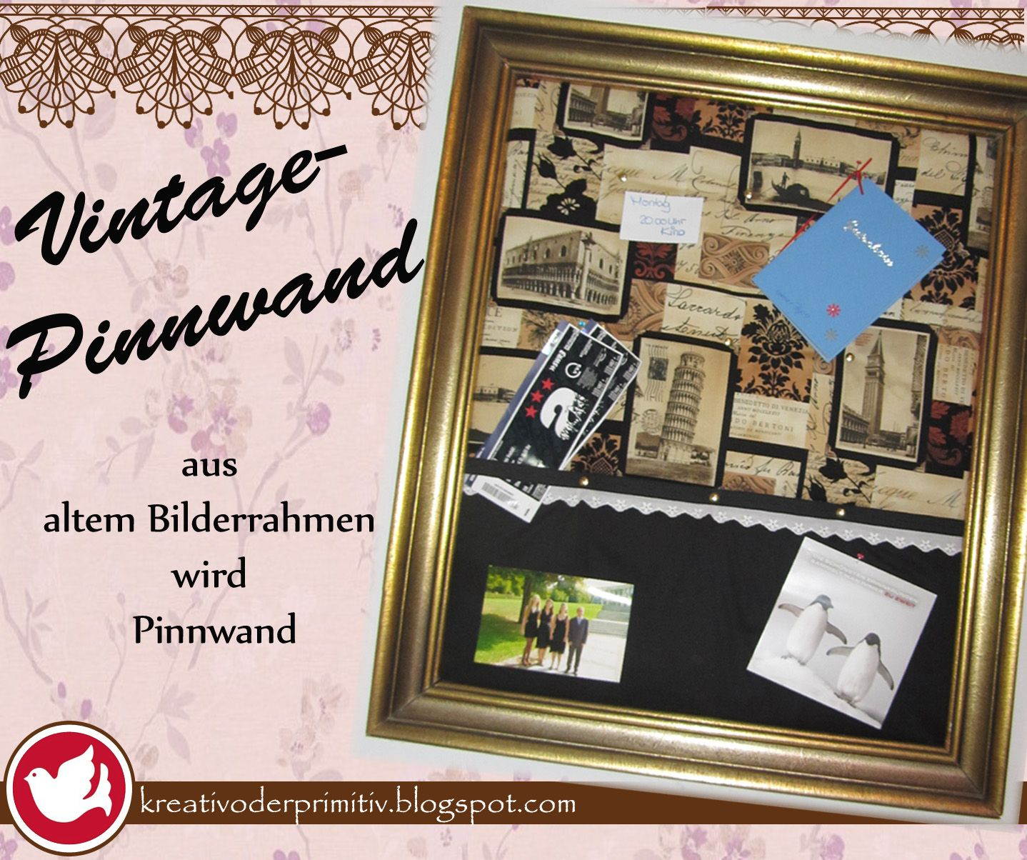 vintage pinnwand memoboard magnetwand diy selber machen. Black Bedroom Furniture Sets. Home Design Ideas