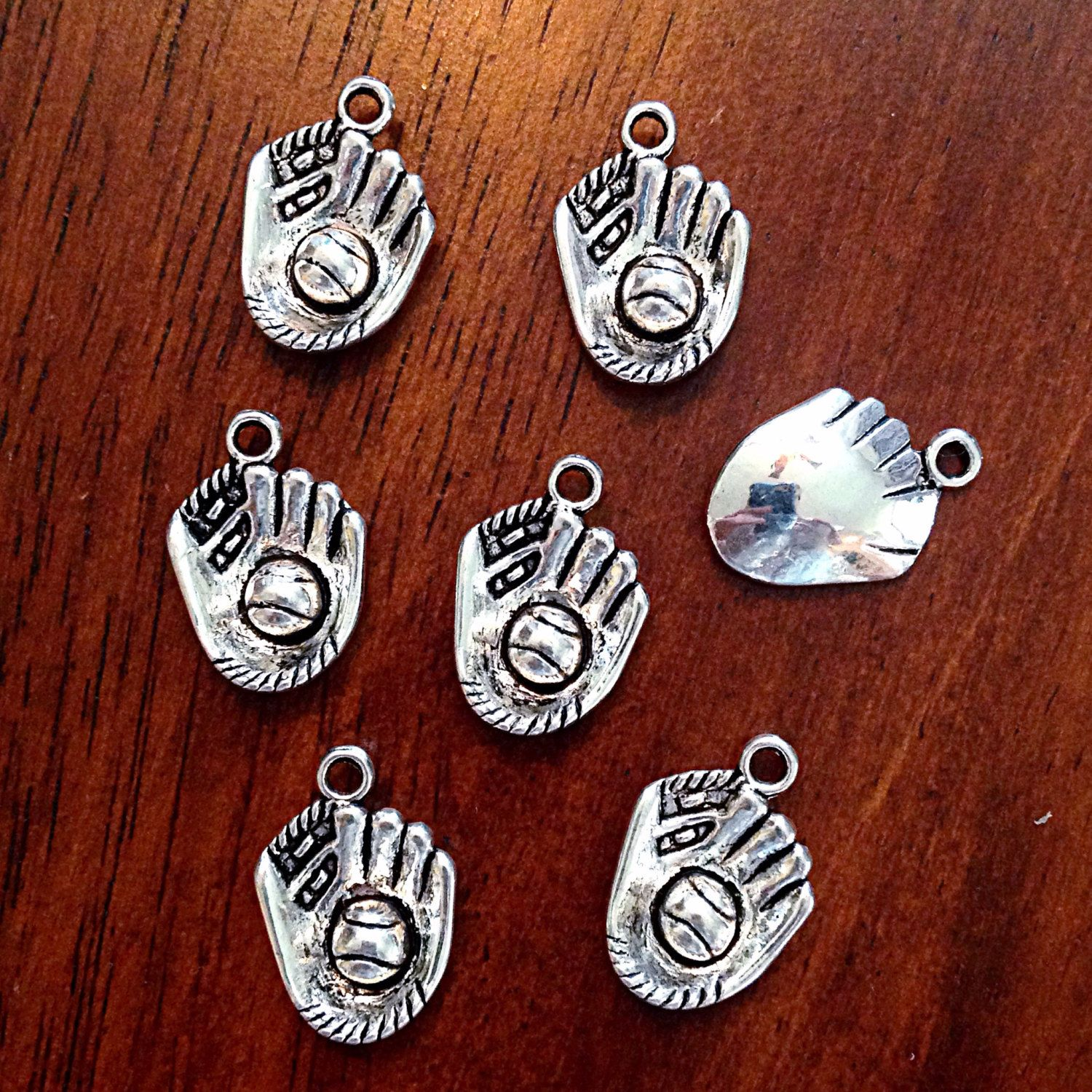 8 Baseball Charms Antiqued Silver Softball Pendants Sports Jewelry Findings