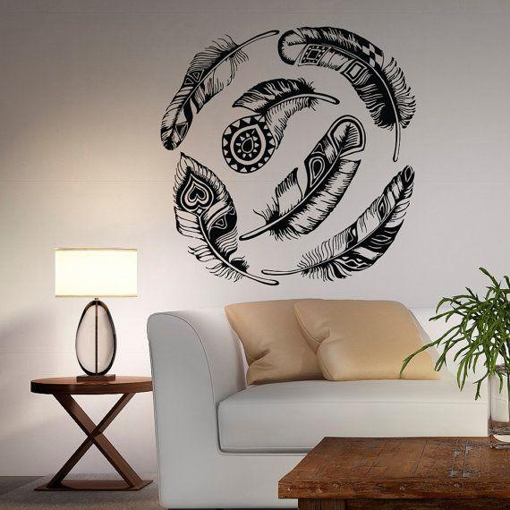 Dreamcatcher Wall Art feather wall decal vinyl sticker dream catcher tribal decor boho