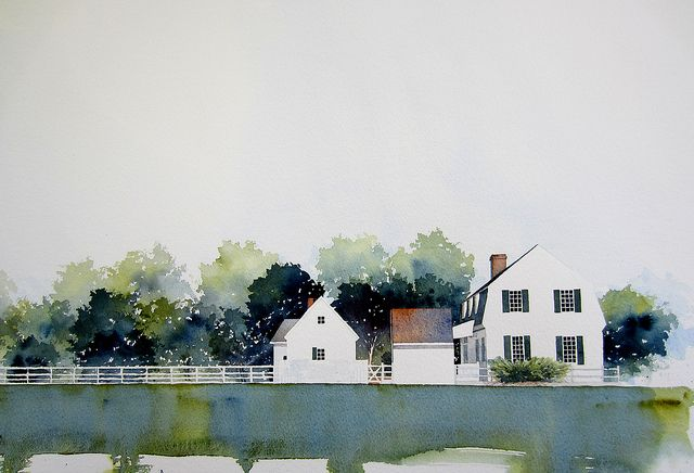 Williamsburg Watercolor Architecture Watercolor Landscape